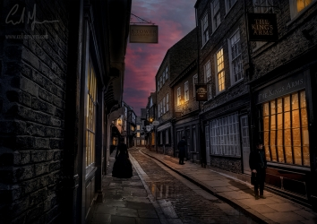 """Victorian Twilight Street"" - Digital Painting/Artwork (Colin Myers)"