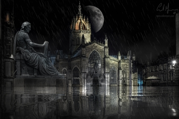 """""""Flooded Old Edinburgh –St Giles Cathedral"""" – Digital Painting/Artwork (Colin Myers)"""