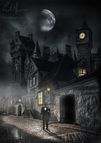 """""""Old Town Moonlit Cobbles"""" - Digital Painting/Artwork (Colin Myers)"""