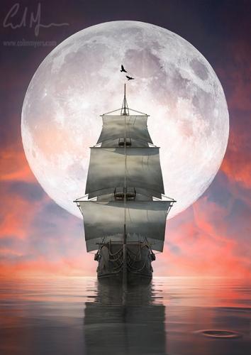 """Moon v Ship At Dusk"" - Digital Painting/Artwork (Colin Myers)"
