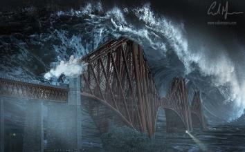 """Forth Bridge Tidal Wave"" - Digital Painting/Artwork (Colin Myers)"