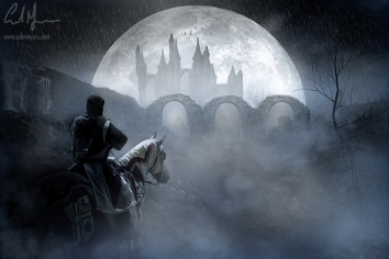 """""""Knight, Moon & Distant Castle"""" - Digital Painting/Artwork (Colin Myers)"""