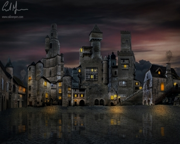 """""""Old Medieval Town"""" = Digital Painting/Artwork (Colin Myers)"""