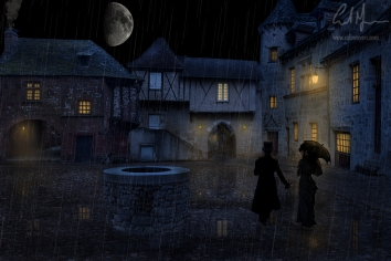 """""""Victorian Old Town & Moon"""" - Digital Painting/Artwork (Colin Myers)"""