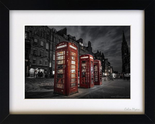 Royal Mile Phone Boxes (B&W) - Limited Edition Framed Print